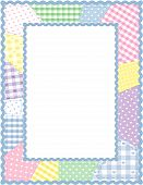 Pastel gingham & polka dot quilted patchwork in a powder blue rick rack frame for albums and scrapbooks. Copy space to add pictures or text. Great for baby books. EPS8 organized in groups for easy editing. poster