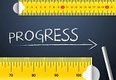 Measuring Progress or Improvement Concept. Two different tape measuring progress word with chalk with metric system and imperial units, flat design. Various way of measuring progress management. poster