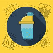 Flat color design vector illustration with round blue icon for shaker bottle and gray contour elements for sports nutrition around on yellow background. Long shadow design. poster