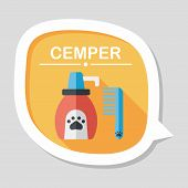Pet Shampoo Flat Icon With Long Shadow,eps10, stylish colors of vector illustration. poster
