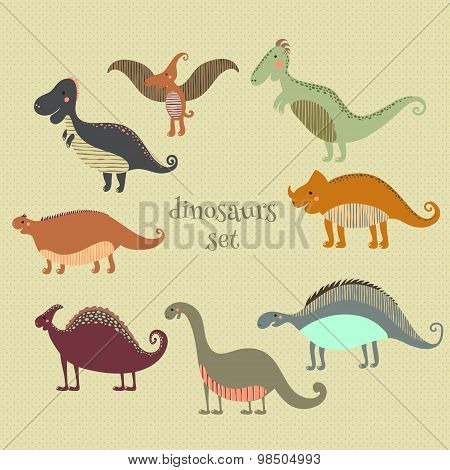 Retro poster with set funny dinosaurs in cartoon. Can be used for wallpapers, pattern fills, web pag
