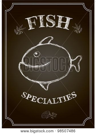 vector Blackboard fish restaurant menu card