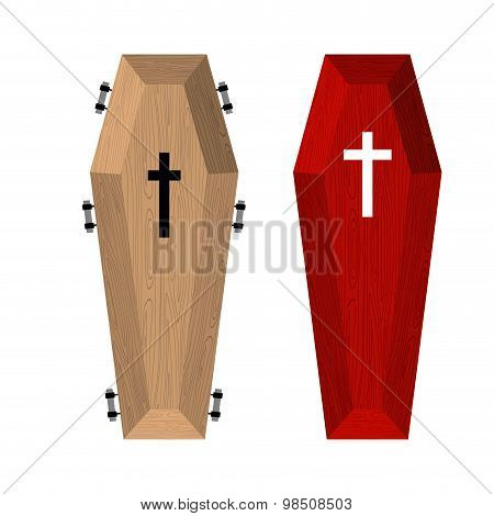 Set Of Coffins. Red Beautiful Expensive Coffin And A Wooden Coffin. Vector Illustration Of Accessori