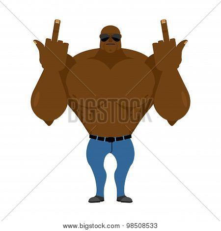 Big Strong Man. Bodybuilder In Jeans Shows Fuck. Hooligan In dark glass Hostile. Vector Illustration