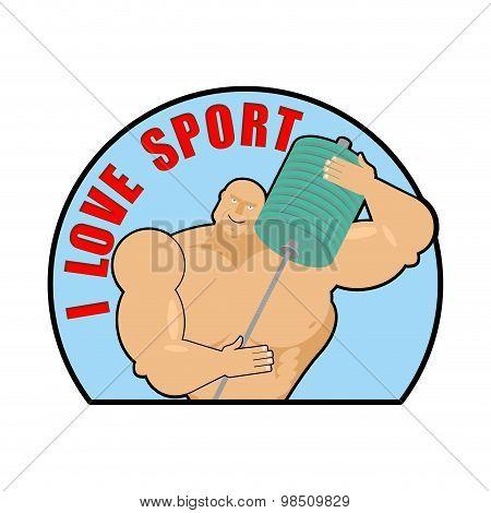 I Love  Sport. Emblem, Sign For Fans Of Bodybuilding. Man Hugs. Vector Illustration Of A Cute Muscle