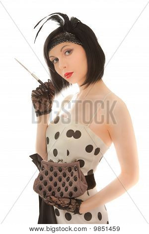 Woman With Cigaret In Her Hand Looking To The Camera