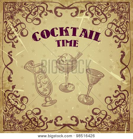 Collection of vintage cocktails with art deco border. Retro hand drawn vector illustrations on grung