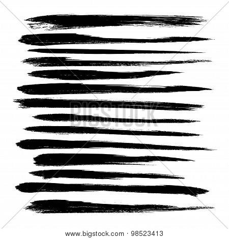 Abstract Black Long Strokes Of Paint  Isolated On A White Background