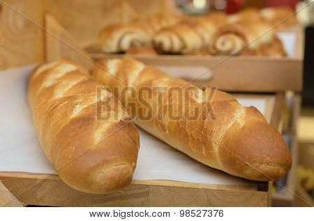 French Baguettes On Wooden Basket