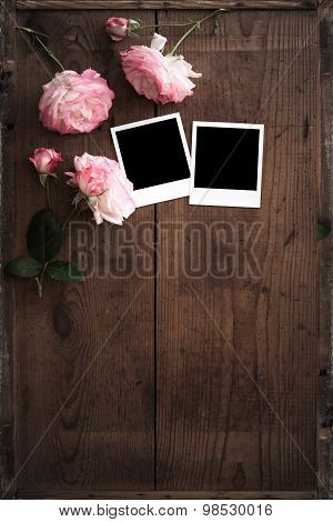 Vintage Polaroid  Frame On Wood With Rose