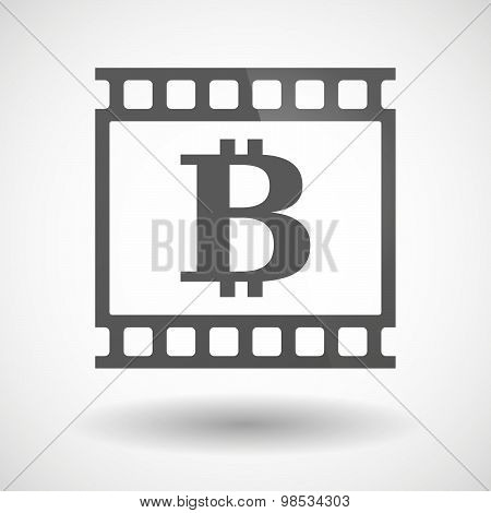 Illustration of a photographic film icon with a bit coin sign poster