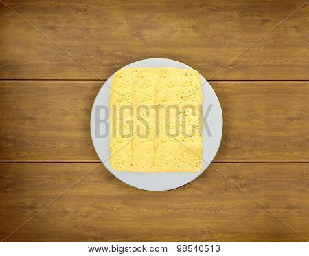 Cut Cheese On A Plate