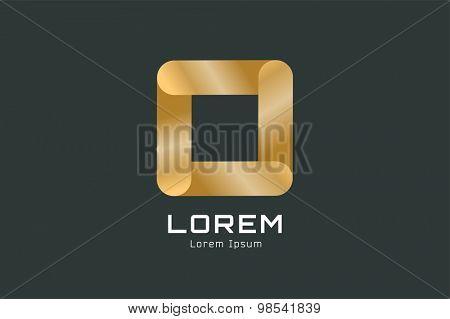 Vector golden square abstract logo template. Corner geometric and symmetric symbol, trendy icon, creative idea or glossy button. Company logotype. Stock illustration icon