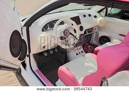White And Pink Interior Of A Tuning Car