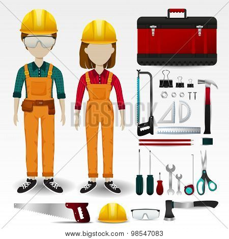 Field Engineering Or Technician Uniform Clothing, Stationary And Accessories Tool Box Icon Collectio