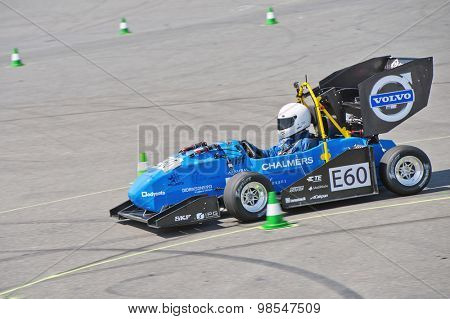 HOCKENHEIM, GERMANY - AUGUST 1, 2015: The electric race car of the University of Goteborg Chalmers, Sweden, during the endurance race of the Formula Student Germany officious world championships