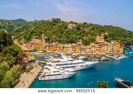 Portofino - Italy - July 2015 - Port With Yachts, On A Hot Summer Day