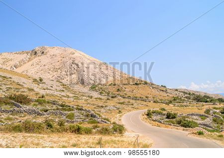 Rocky Hills And Fences With The Road On The Island Of Krk, Croatia
