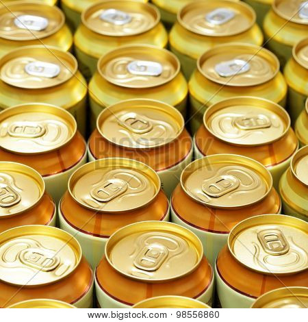 A lot of gold beer cans. Shallow DOF!