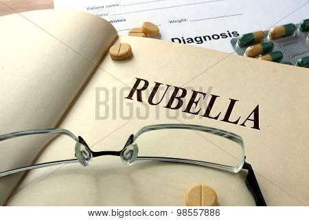 Word  Rubella on a paper and pills.