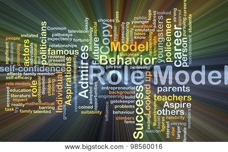 Background concept wordcloud illustration of role model glowing light