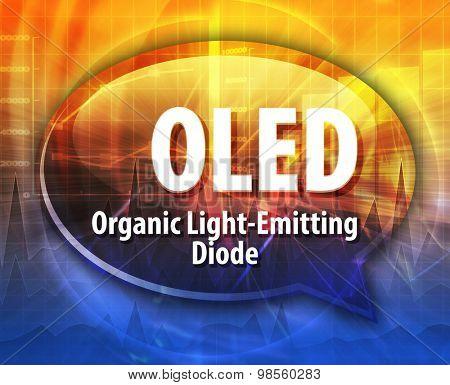 Speech bubble illustration of information technology acronym abbreviation term definition OLED Organic Light-Emitting Diode
