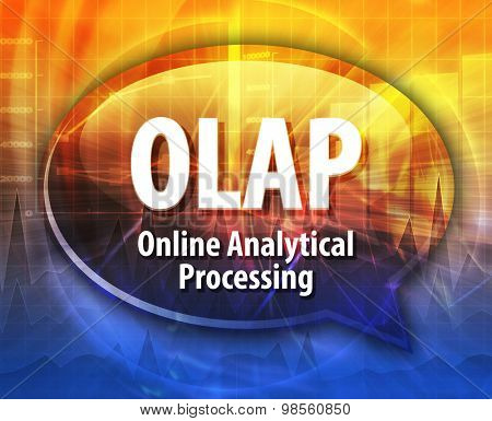 Speech bubble illustration of information technology acronym abbreviation term definition OLAP Online Analytical Processing