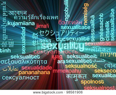 Background concept wordcloud multilanguage international many language illustration of sexuality glowing light
