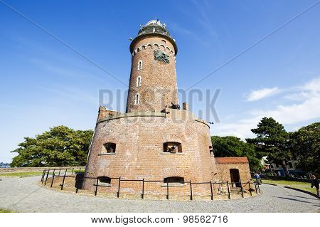 The Lighthouse Made Of Brick In Kolobrzeg In Poland