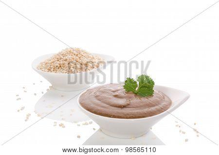 Tahini Pasta And Sesame Seeds.