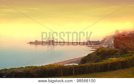 White cliffs south coast of Britain, Dover at sunset. UK