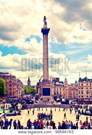 LONDON, UK - MAY 14, 2014:National Gallery and Trafalgar Square and Nelson's monument