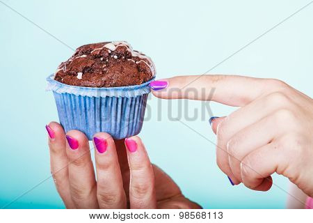 Sweet Chocolate Muffin Human Hands. Confectionery.