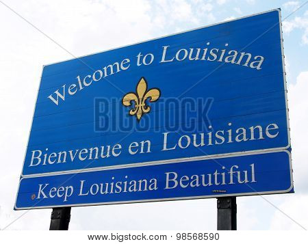 Welcome To Louisiana Road Sign.