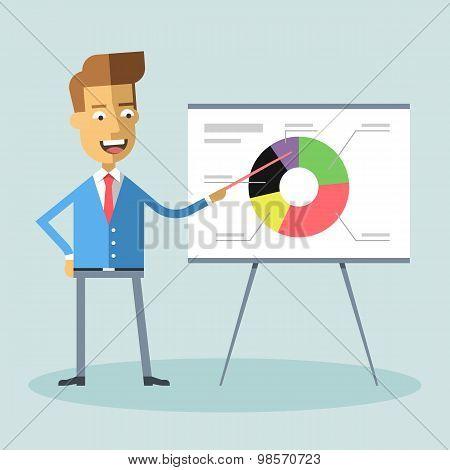 Handsome manager gives presentation shows diagram