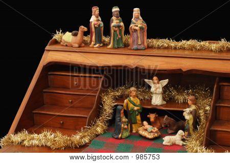 Nativity With Secretary - Black Background