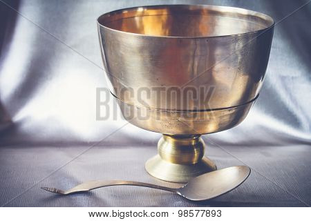 Antique Brass Bowl And Ladle, Still Life Art Photography On Vintage.