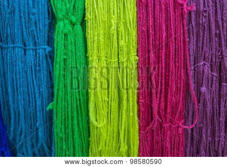 Colorful Of Raw Silk Thread For Background