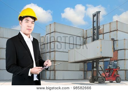 Transportation Engineer With Crane Lifter Handling Container Box Loading To Depot
