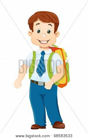 Smiling School Boy With Bagpack On White. Vector Cartoon Illustration