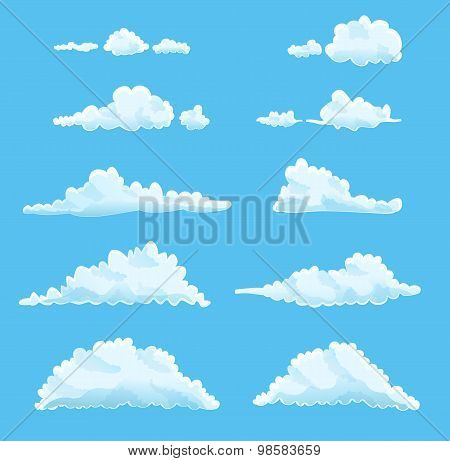 Set Of Cartoon Clouds On Blue. Vector Illustration