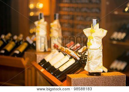 Wine Cellar Cabinet In Luxury Restaurant