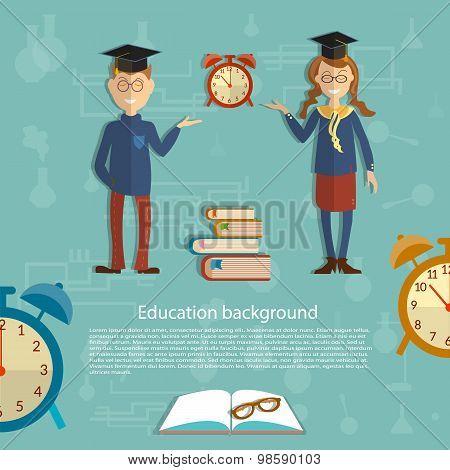 Time For Education, Schoolboy, Schoolgirl, Textbooks, Back To School, School Uniform, Alarm Clocks