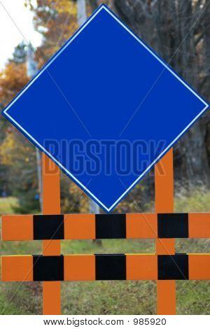 Empty Blue Roadsign