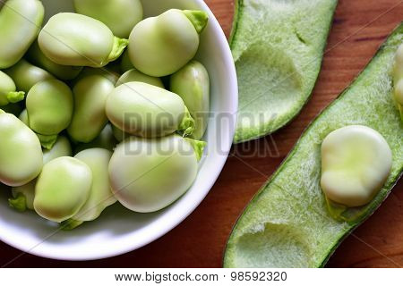 Broad Beans Fava Beans In Bowl.