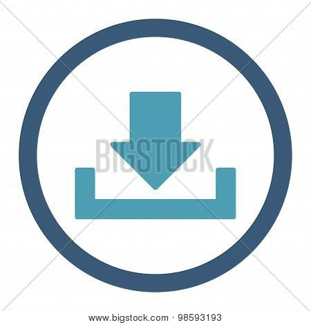 Download vector icon. This rounded flat symbol is drawn with cyan and blue colors on a white background. poster
