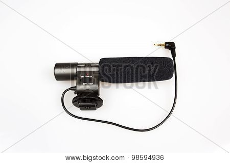External Microphone For The Camera On Isolated White