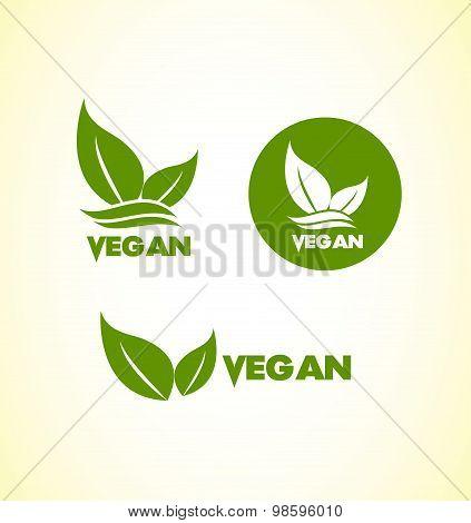 Vector company logo icon element template vegan vegetarian healthy food poster