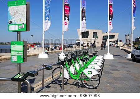 Hire bikes, Liverpool.