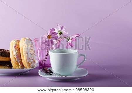 Delicious Colorful Donuts On Dish, Violet Shadeless Background
